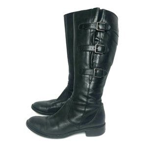 Ecco 3 Buckle Strap Boots Black Leather Size 40